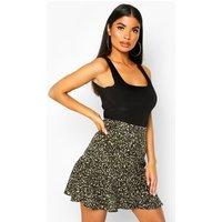 Womens Petite Leopard Print Wrap Skirt - green - 6, Green