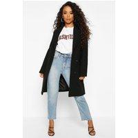 Womens Petite Double Breasted Wool Look Coat - black - 12, Black
