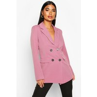 Womens Petite Longline Double Breasted Blazer - Pink - 8, Pink