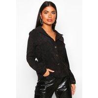 Womens Petite Volume Sleeve Mock Horn Button Shirt - black - 4, Black