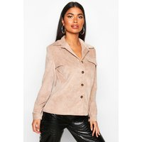 Womens Petite Volume Sleeve Mock Horn Button Shirt - beige - 14, Beige