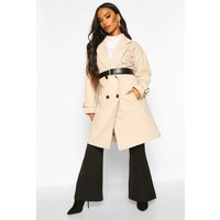 Womens Petite Belted Wool Look Trench Coat - beige - 4, Beige