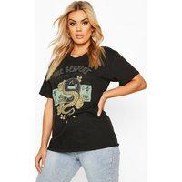 Womens Plus The Serpent Slogan T-Shirt - black - 16, Black