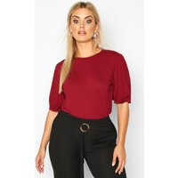 Womens Plus Jumbo Rib Puff Shoulder Top - red - 18, Red