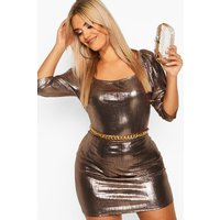 Womens Plus Metallic Puff Sleev Bodycon Dress - brown - 24, Brown
