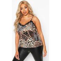 Womens Plus Woven Animal Print Lace Trim Cami - brown - 16, Brown