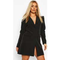 Womens Plus Puff Sleeve Blazer Dress - black - 24, Black