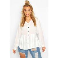 Womens Plus Pleated Button Detail Peplum Shirt - White - 16, White