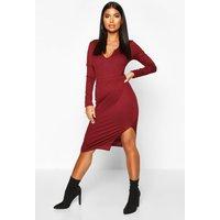 Womens Petite Split Jumbo Rib Midi Skirt - red - 4, Red