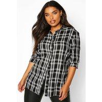 Womens Plus Check Oversized Boyfriend Shirt - black - 20, Black
