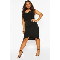 Womens Plus Metallic Wrap Midi Skirt - black - 22, Black