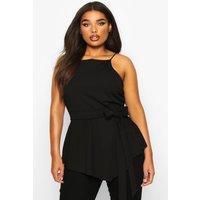 Womens Plus Crepe Tie Front Asymmetric Top - Black - 16, Black