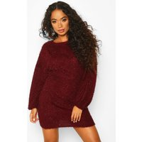 Womens Petite Fluffy Sparkle Knit Jumper Dress - red - S, Red