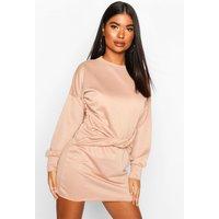 Womens Petite Twist Front Sweat Dress - beige - 6, Beige