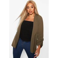 Womens Plus Ruched Sleeve Blazer - Green - 18, Green