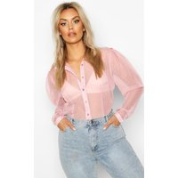 Womens Plus Dobby Mesh Puff Sleeve Shirt - pink - 22, Pink