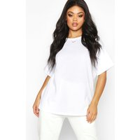Womens Plus Turn Up Cuff Cotton T-shirt - white - 24, White