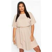 Womens Plus Double Layer Tie Waist Skater Dress - beige - 16, Beige