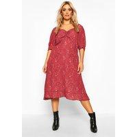 Womens Plus Floral Ruched Detail Midi Dress - red - 18, Red