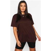 Womens Plus Rib Knit Crew Neck Longline Top - brown - 16, Brown