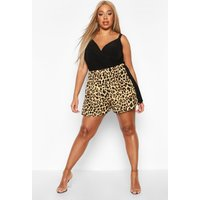 Womens Plus Leopard Print Contrast Floaty Shorts - brown - 24, Brown