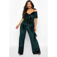 Womens Plus Velvet Ruffle Cold Shoulder Wrap Jumpsuit - green - 18, Green