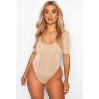 Womens Plus Textured Slinky Plunge Bodysuit - beige - 18, Beige