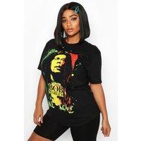 Womens Plus Bob Marley Oversized License T-Shirt - black - 24, Black