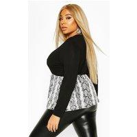 Womens Plus Contrast Snakeskin Long Sleeve Smock Top - black - 26, Black