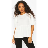 Womens Petite Ribbed Puff Sleeve Smock Top - white - 6, White
