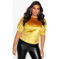 Womens Plus Puff Sleeve Crushed Velvet Top - yellow - 22, Yellow