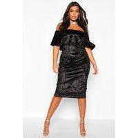 Womens Plus Crushed Velvet Bardot Ruffle Midi Dress - black - 28, Black