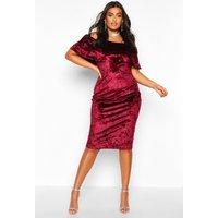 Womens Plus Crushed Velvet Bardot Ruffle Midi Dress - red - 26, Red