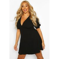 Womens Plus Puff Sleeve Skater Dress - black - 18, Black