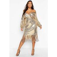 Womens Plus Sequin Off The Shoulder Wrap Midi Dress - metallics - 20, Metallics