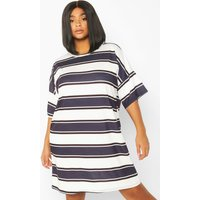 Womens Plus Stripe Oversized T-Shirt Dress - black - 22, Black
