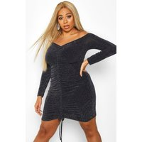 Womens Plus Glitter Shimmer Ruched Front Bodycon - navy - 28, Navy