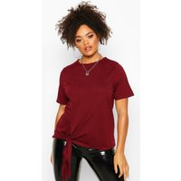Womens Plus Cotton Tie Side Oversized T-Shirt - red - 20, Red