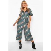 Womens Plus Floral Spot Stripe Wrap Self Belt Culotte Jumpsuit - Green - 28, Green
