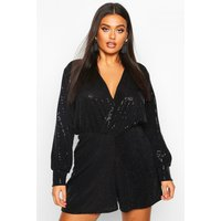 Womens Plus Sequin Wrap Long Sleeve Flippy Playsuit - black - 18, Black