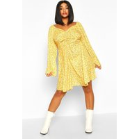 Womens Plus Ruched Puff Sleeve Floral Skater Dress - yellow - 16, Yellow