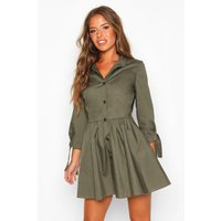 Womens Petite Button Through Smock Dress - Green - 8, Green