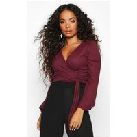 Womens Petite Wrap Flute Sleeve Rib Top - red - 6, Red