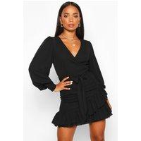 Womens Petite Frill Hem Belted Wrap Dress - Black - 10, Black