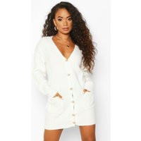 Womens Petite Gold Button Detail Jumper Dress - white - 4, White