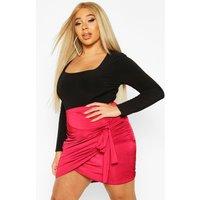 Womens Plus Disco Slinky Wrap Bodycon Skirt - red - 22, Red