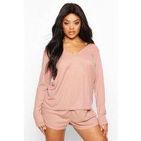 Womens Plus Rib Oversize Top + Short PJ Set - pink - 28, Pink