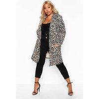 Womens Plus Leopard Print Duster - brown - 22, Brown