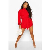 Womens Petite Open Back High Neck Playsuit - red - 8, Red