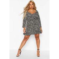 Womens Plus Metallic Leopard Ruffle Hem Skater Dress - black - 22, Black
